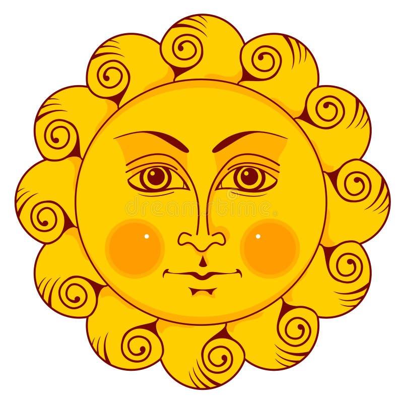 Sun com cara ilustração stock