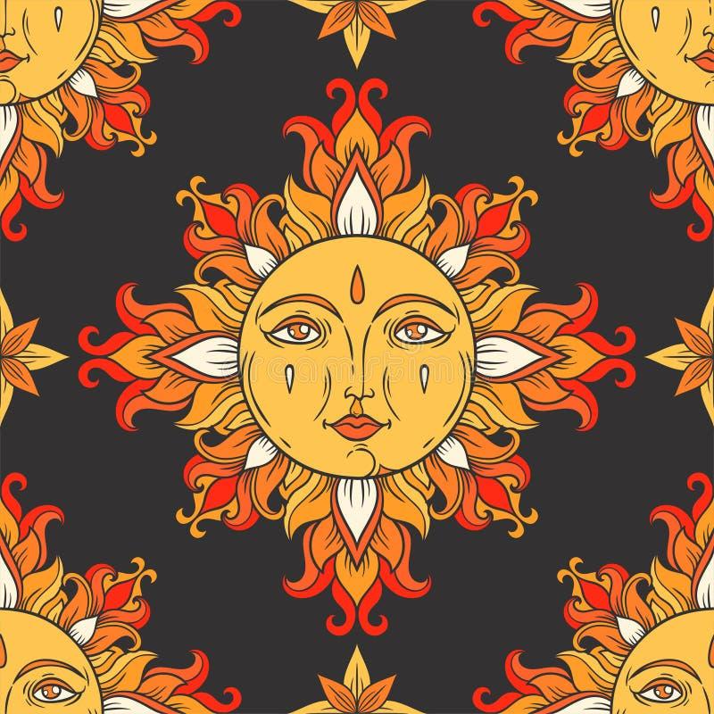 Sun com cara e estrelas no céu Teste padrão sem emenda do vintage do vetor ilustração stock