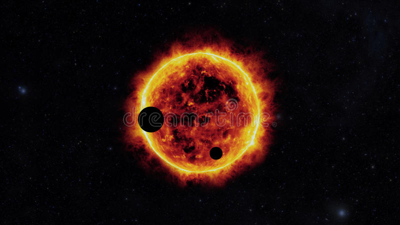 Sun com exoplanets ilustração stock