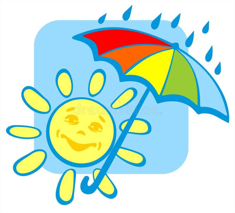 Sun com guarda-chuva ilustração do vetor