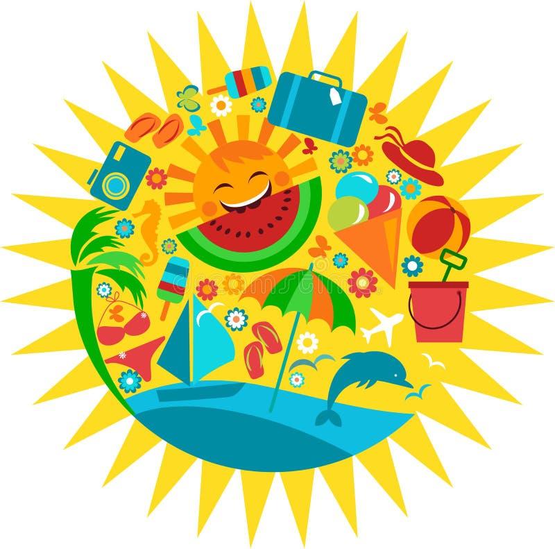 Sun com molde de ícones do verão ilustração do vetor