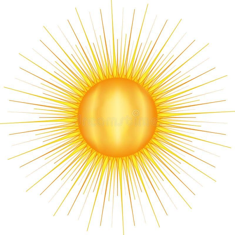 Sun com muitas raias ilustração do vetor