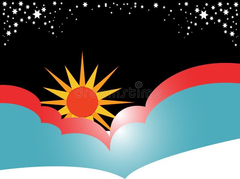 Sun com nuvens ilustração do vetor