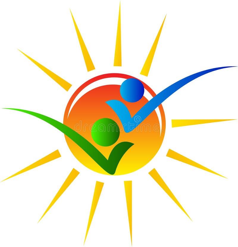 Sun com povos ilustração royalty free