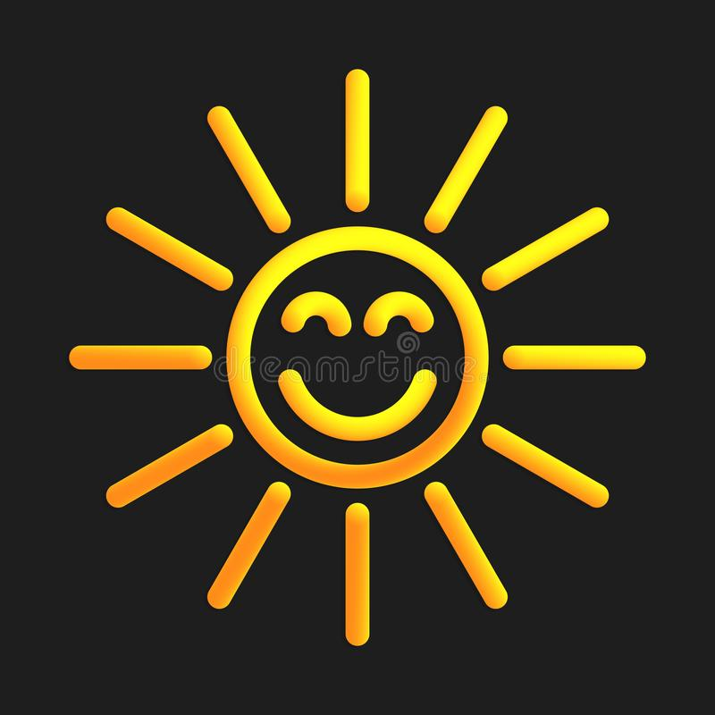 Sun com raios retos no estilo 3d ilustração royalty free