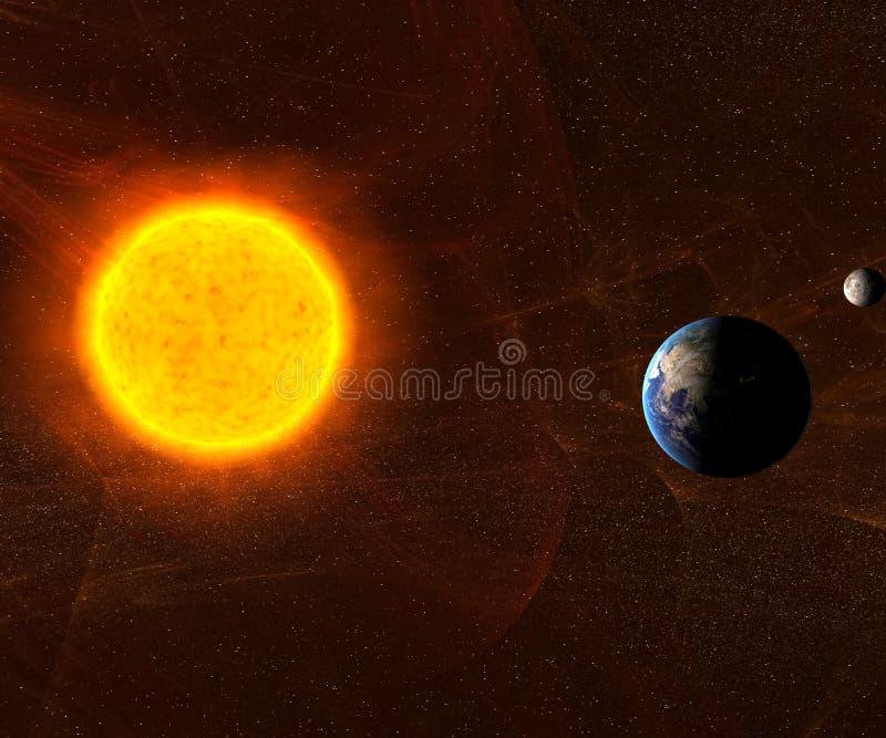 Sun com terra e lua ilustração stock