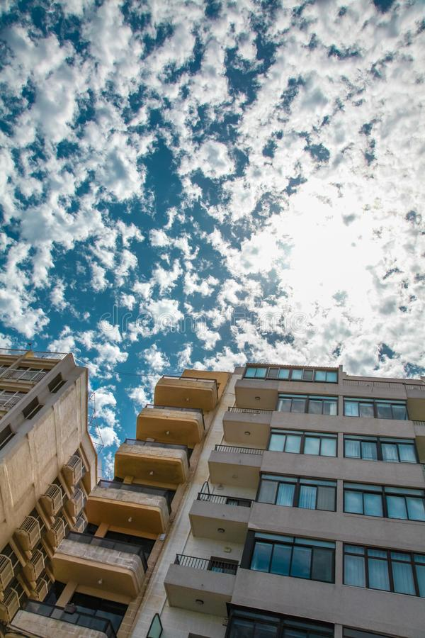Building under the sun and beutiful sky royalty free stock photo