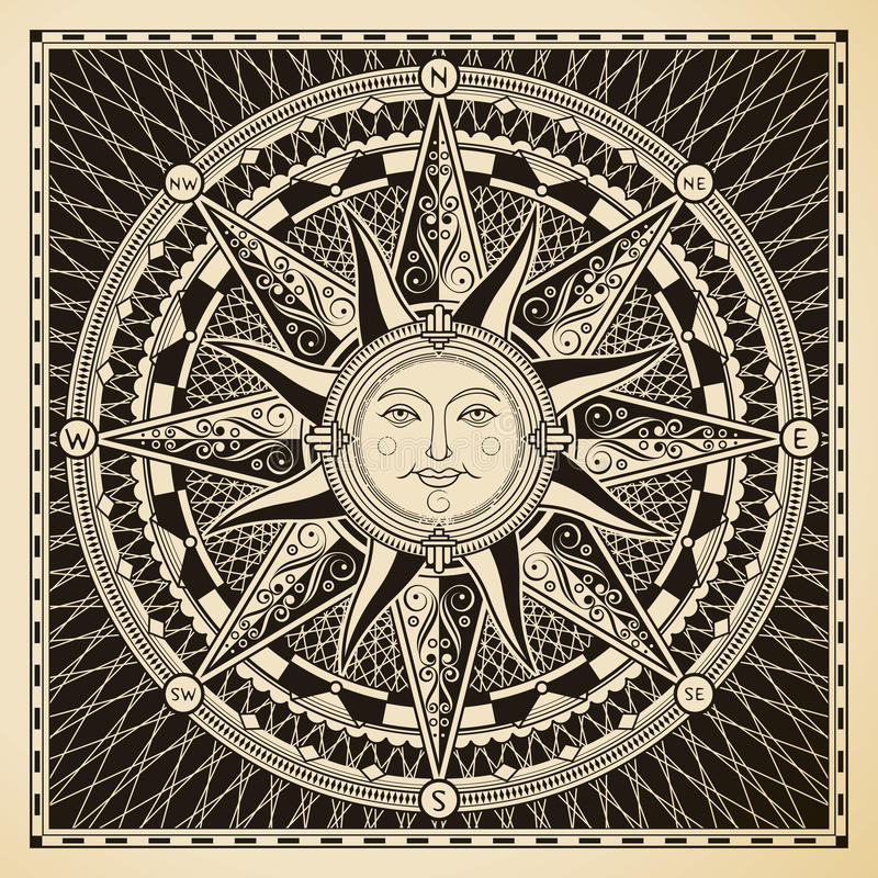 Sun Compass vector illustration