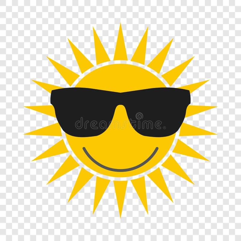 Sun con el icono de los vidrios stock de ilustración