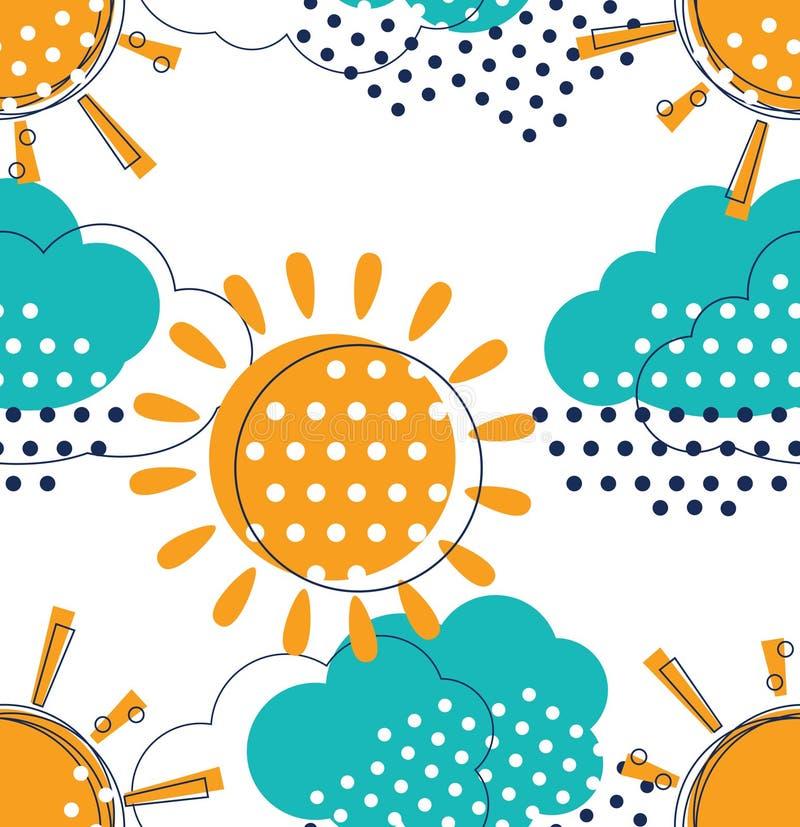 Sun con el modelo inconsútil de las nubes ilustración del vector