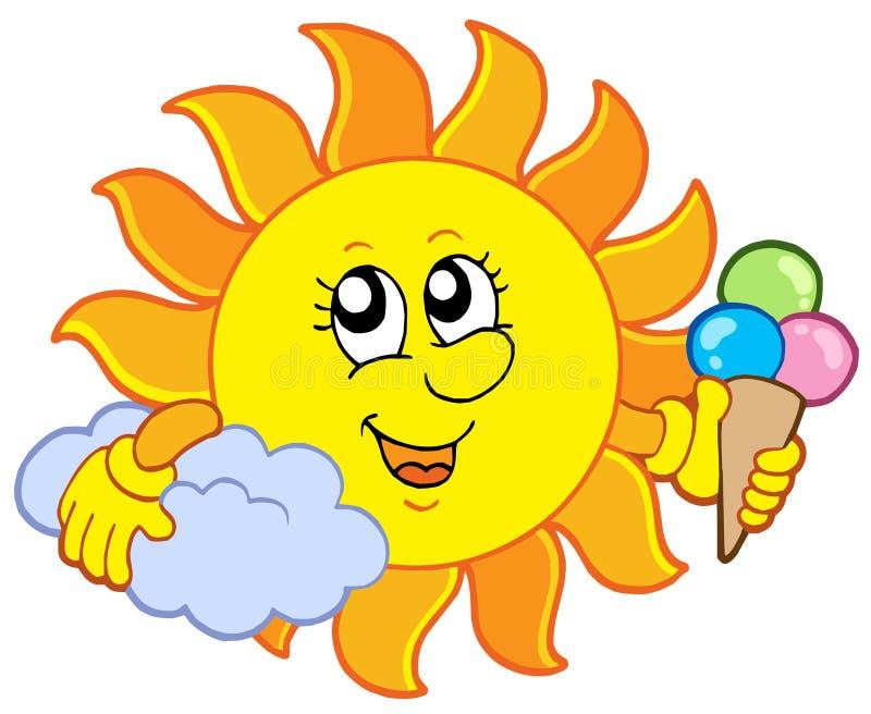 Sun con gelato illustrazione di stock