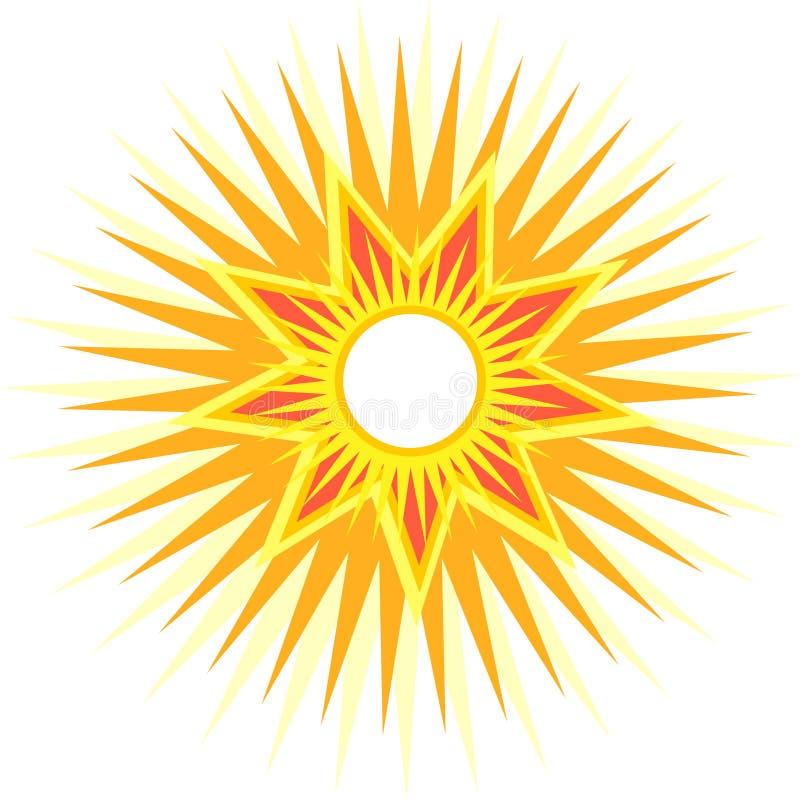 Sun con i raggi multipli illustrazione vettoriale