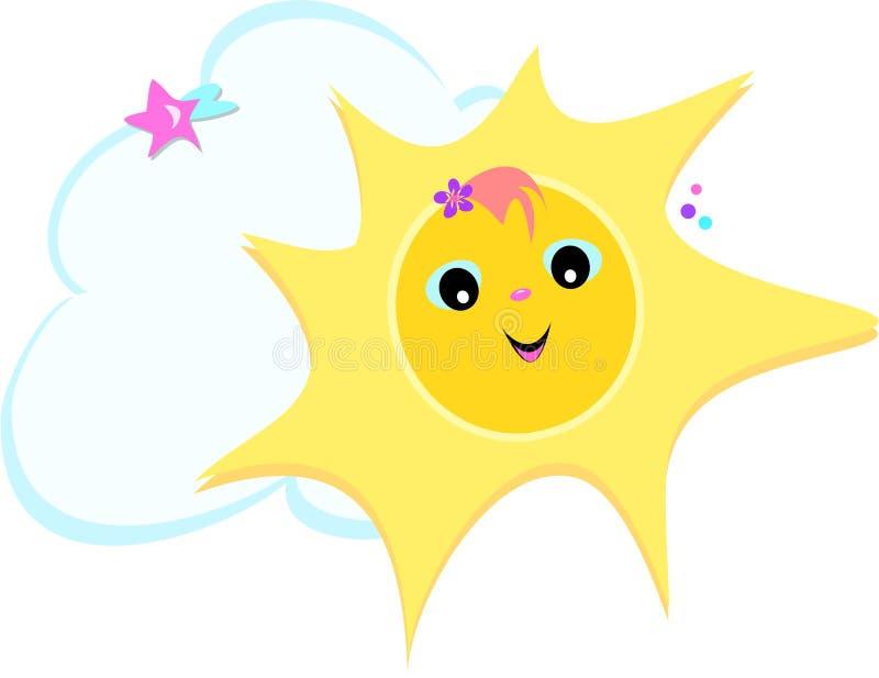 Sun con i sorrisi, la stella, la nube ed il fiore illustrazione di stock