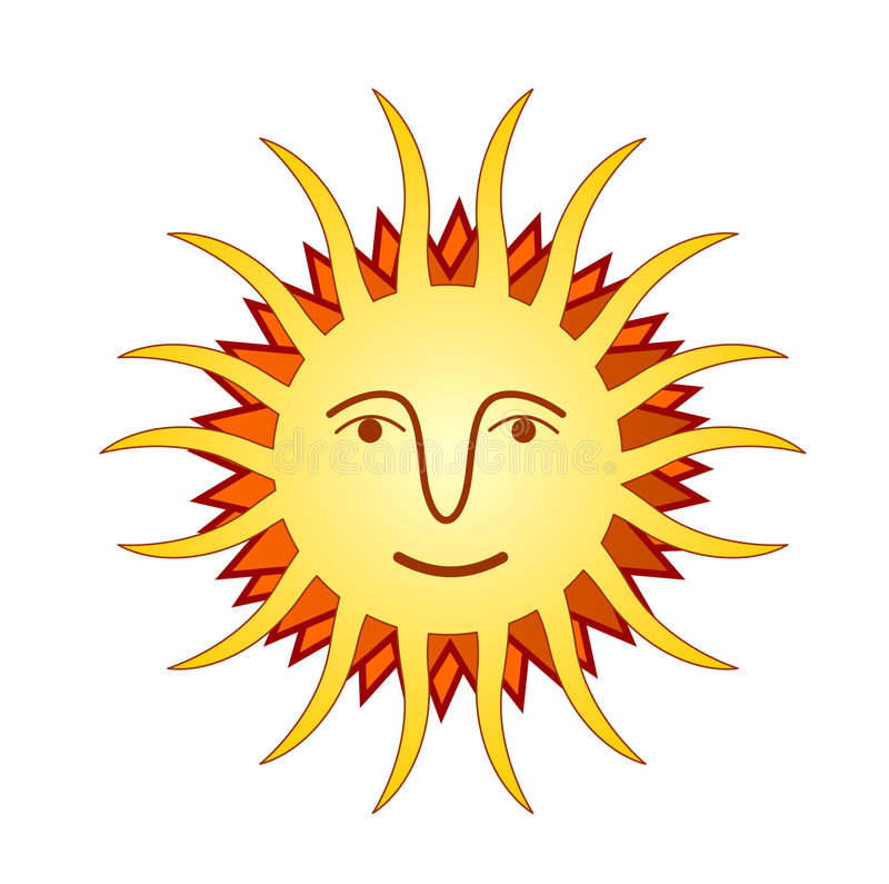Sun con il fronte illustrazione vettoriale