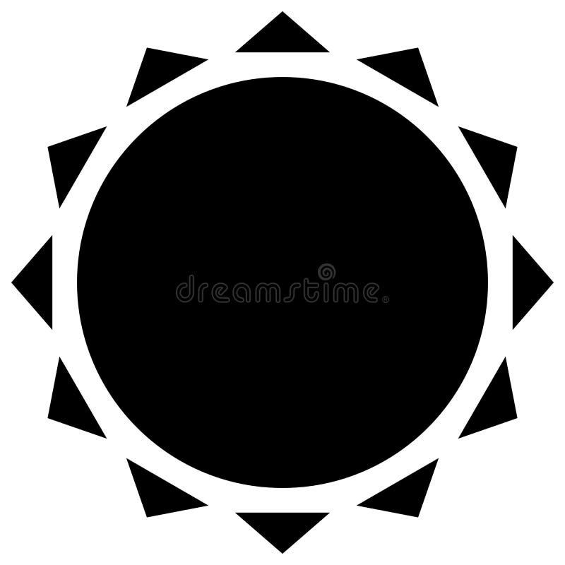 Sun con l'icona della corona Clipart geometrico semplice illustrazione di stock