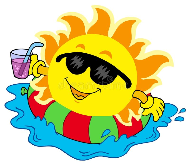 Sun con la bevanda in acqua illustrazione vettoriale