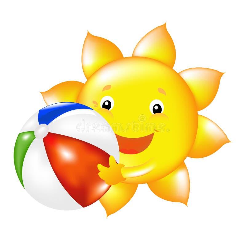 Sun con la bola de playa ilustración del vector