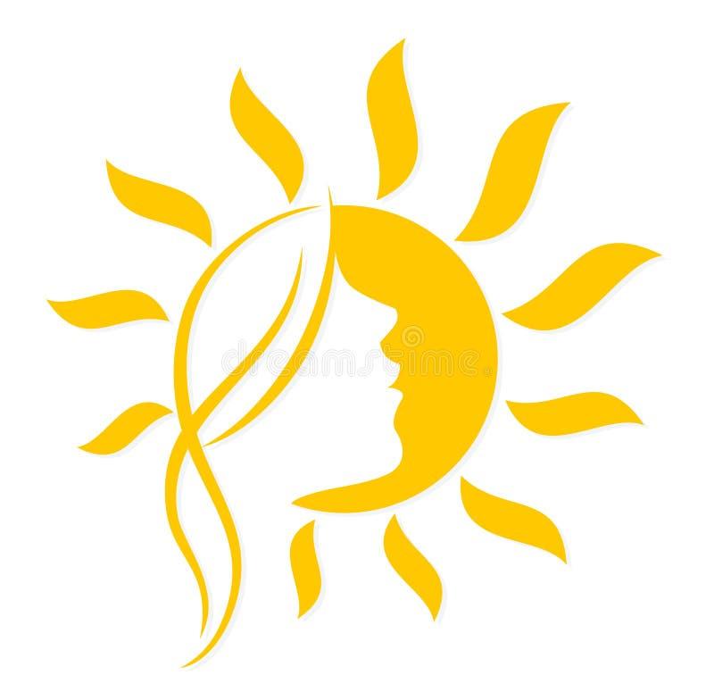 Sun con la cara de la mujer stock de ilustración