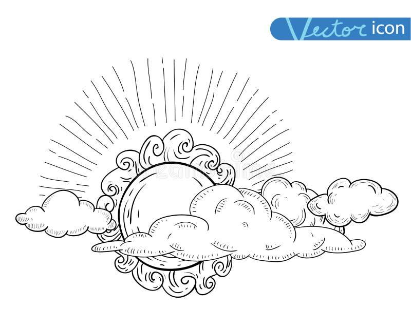 Sun con la colección dibujada mano del garabato de las nubes ilustración del vector