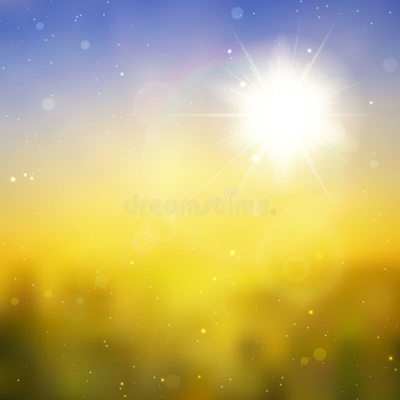 Sun con la llamarada de la lente, fondo del vector stock de ilustración