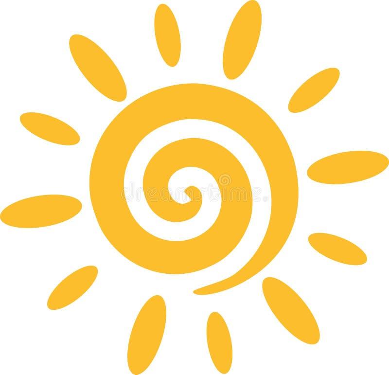 Sun con la spirale illustrazione vettoriale