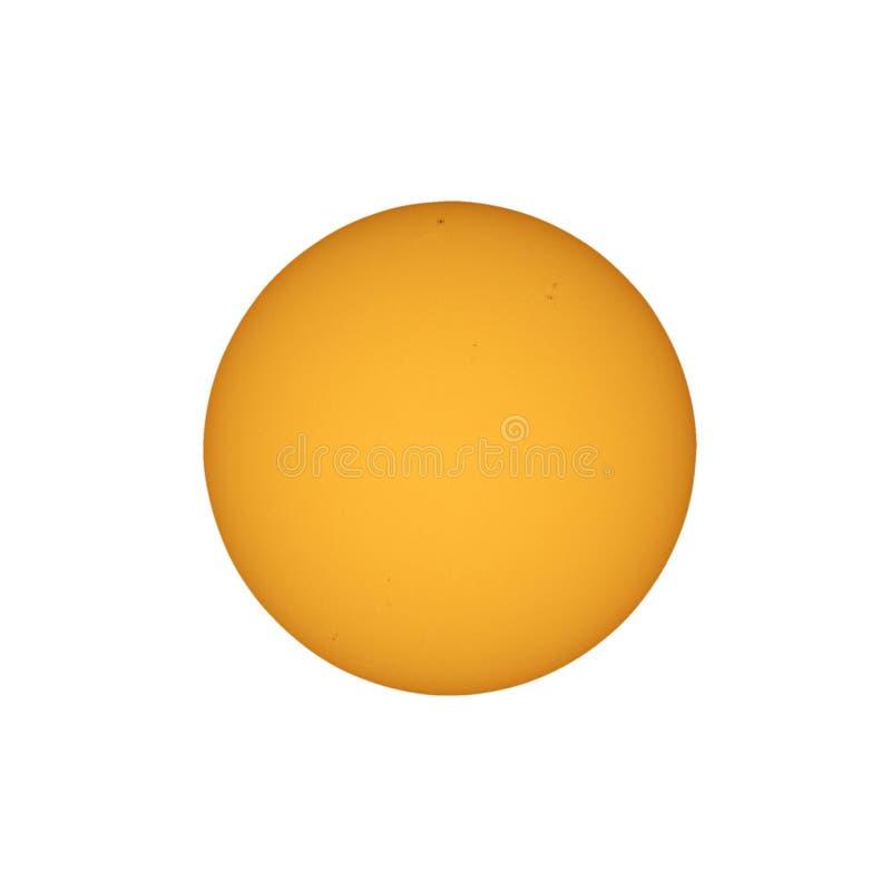 Sun con las manchas solares vistas con el telescopio imagenes de archivo