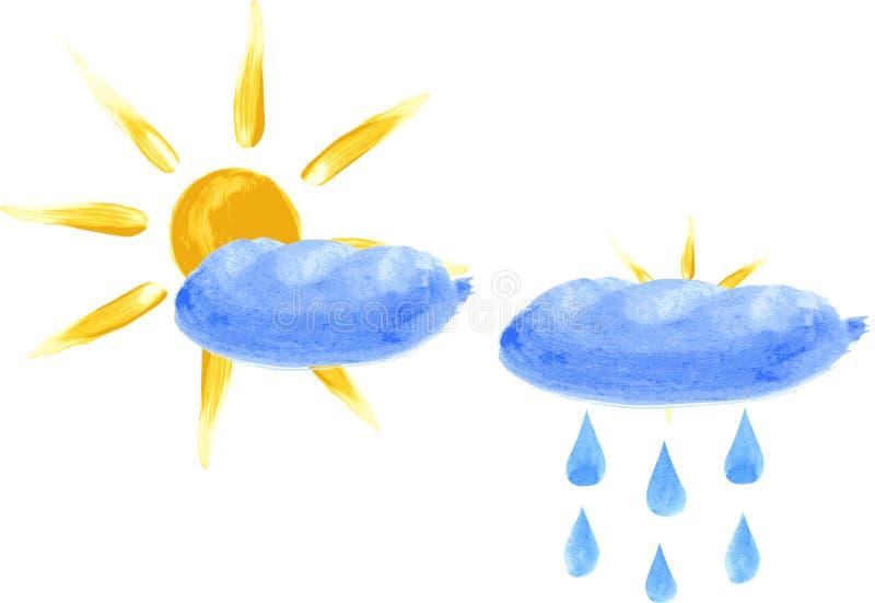 Sun con le nubi illustrazione vettoriale
