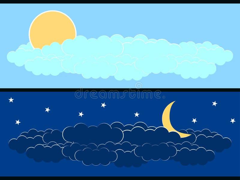 Sun con le nuvole, la luna e le nuvole Insegne con l'ora illustrazione vettoriale