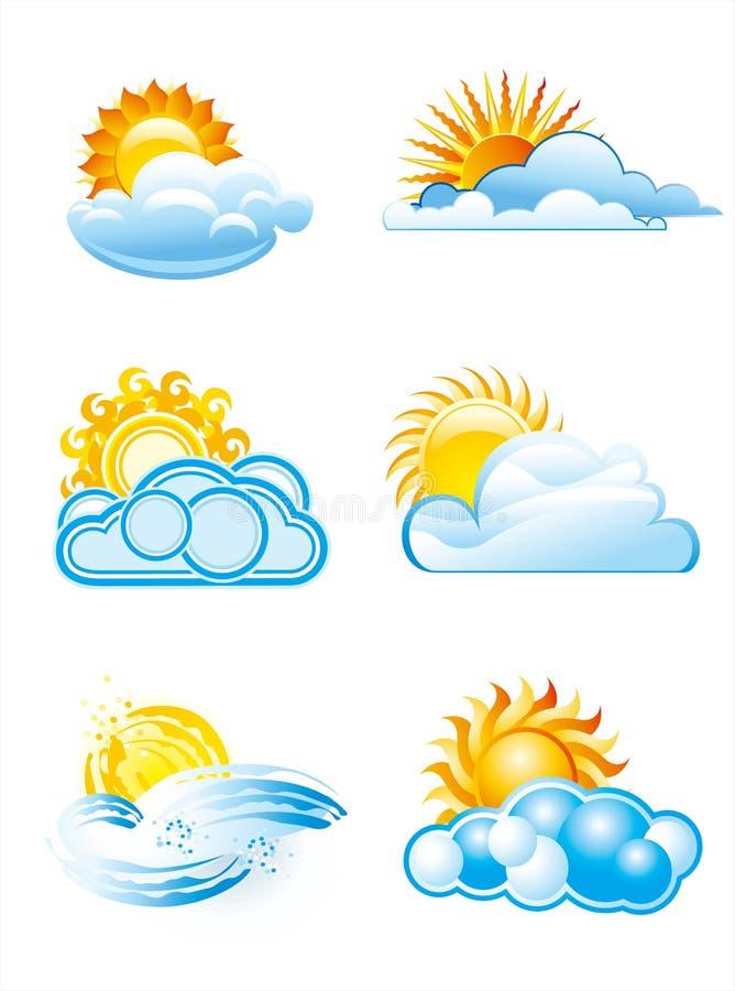 Sun con los iconos de las nubes libre illustration