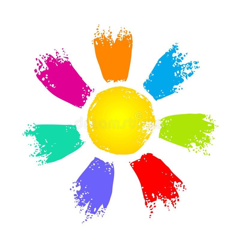 Sun con los rayos coloridos ilustración del vector