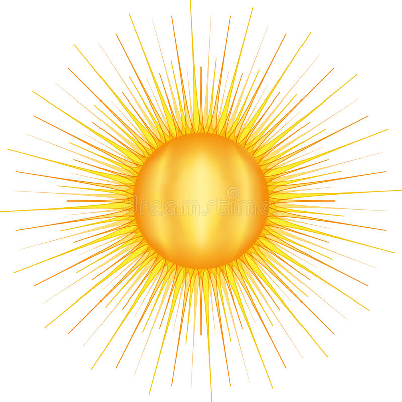 Sun con molti raggi illustrazione vettoriale