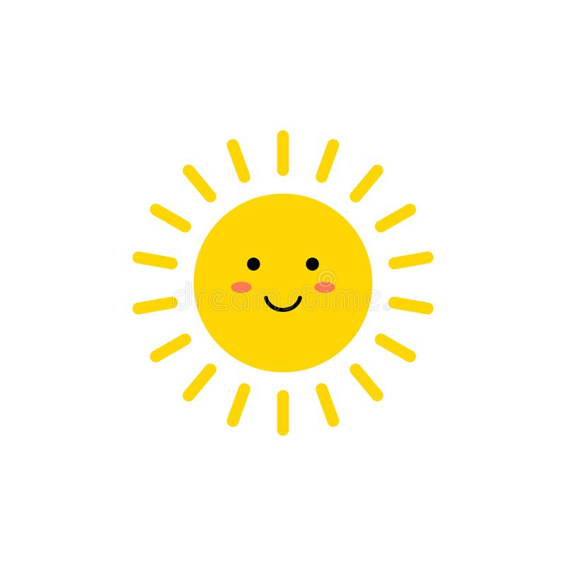 Sun - ?cone do vetor Sol amarelo bonito com cara de sorriso Emoji Emoticon do ver?o Ilustra??o do vetor ilustração royalty free