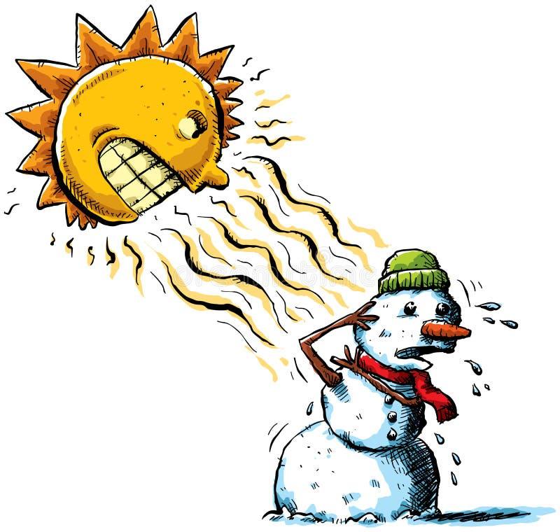 Sun contre le bonhomme de neige illustration de vecteur