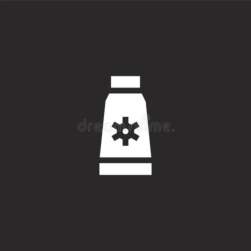 Sun cream icon. Filled sun cream icon for website design and mobile, app development. sun cream icon from filled summer party. Collection isolated on black vector illustration