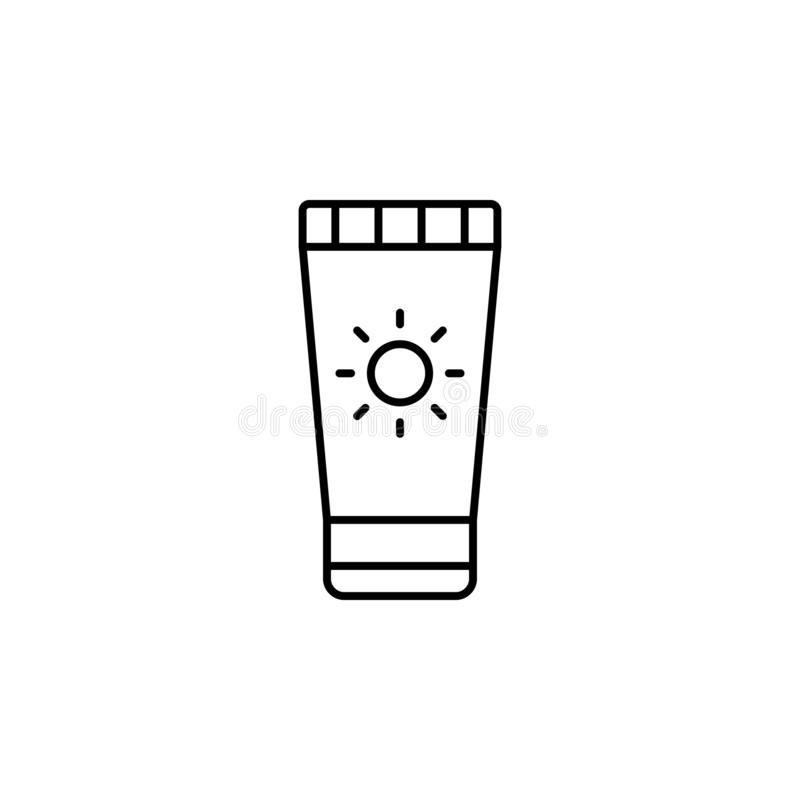 Sun cream icon. Simple thin line, outline illustration of Beauty icons for UI and UX, website or mobile application. On white background vector illustration