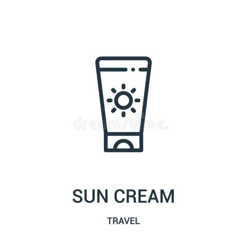 Sun cream icon vector from travel collection. Thin line sun cream outline icon vector illustration. Linear symbol for use on web. And mobile apps, logo, print vector illustration