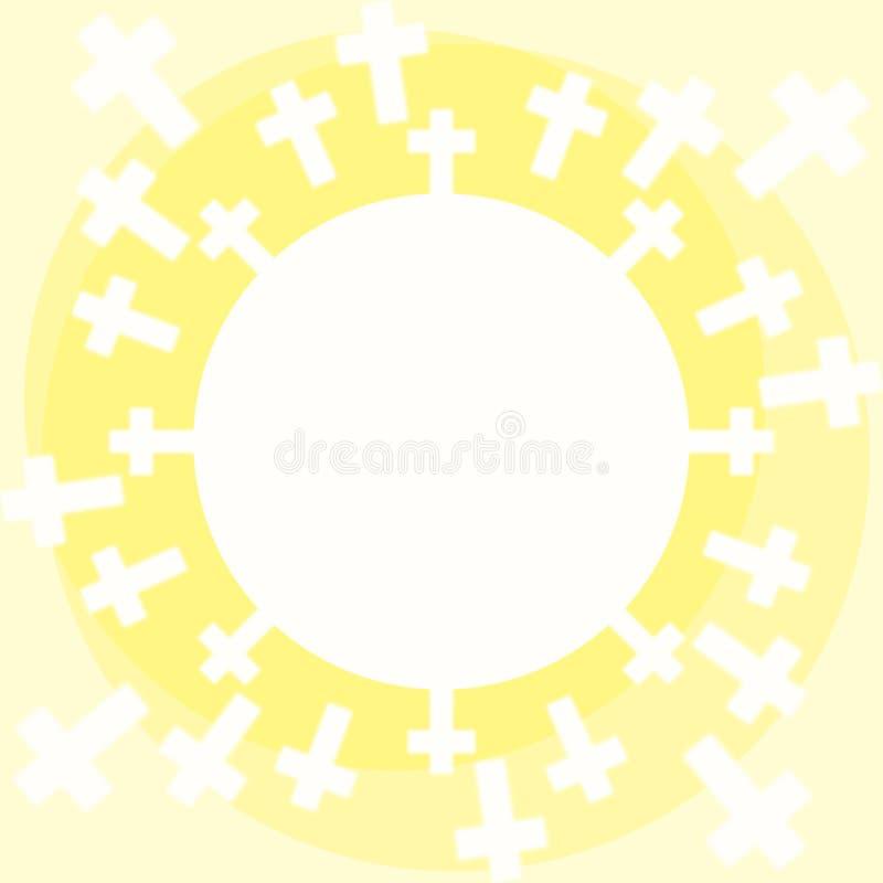 Sun cruza la oblea de la comunión ilustración del vector