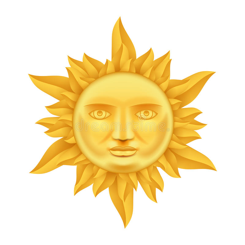 Sun d'or font face à la couronne antique du vecteur haut de conception 3d Transperent d'icône des flammes de calibre de moquerie  illustration stock