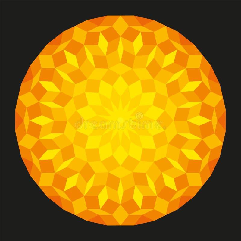 Sun d'un modèle de Penrose sur le fond noir illustration libre de droits