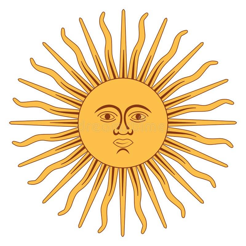 The Sun da bandeira de Argentina ilustração do vetor