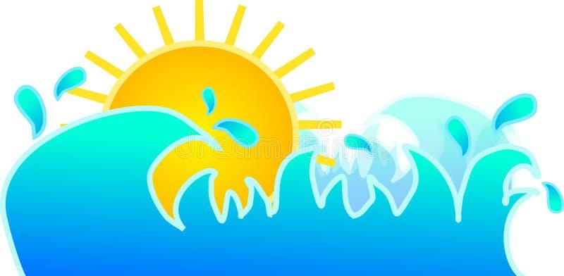 Sun dans des vagues d'eau illustration libre de droits