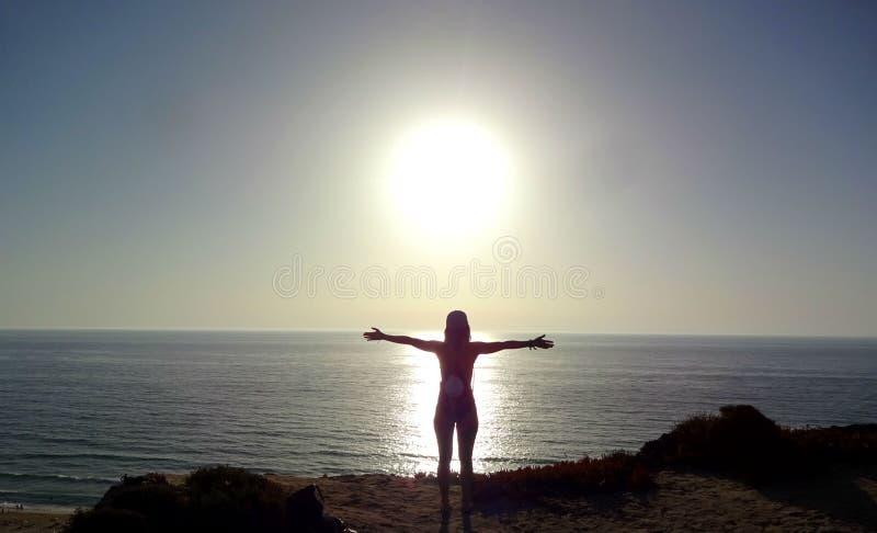 Sun dawn - beach stock image