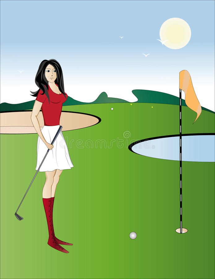 Sun day. A beautiful girl plays golf stock illustration