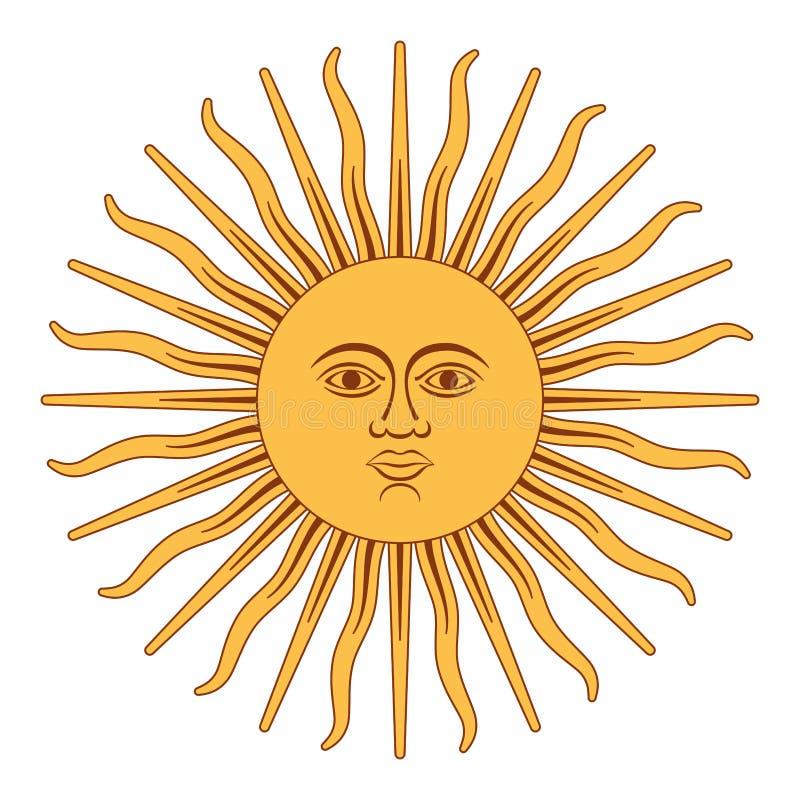 Sun de mai, Sol de Mayo, Argentine illustration de vecteur