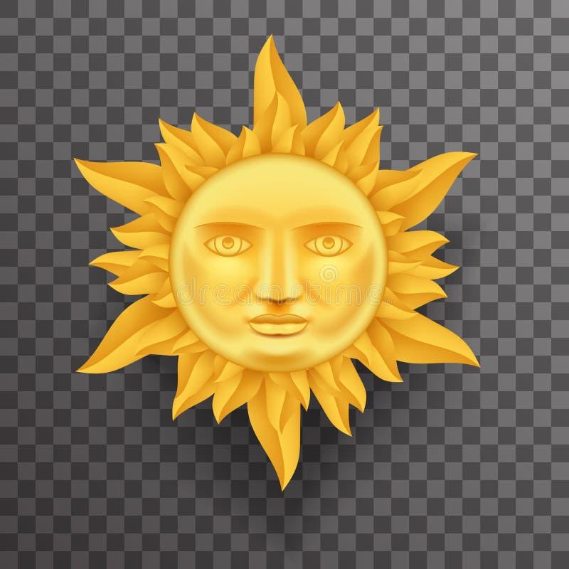 Sun de oro antiguo hace frente a la corona del vector ascendente del diseño 3d Transperent del icono de las llamas de la plantill libre illustration