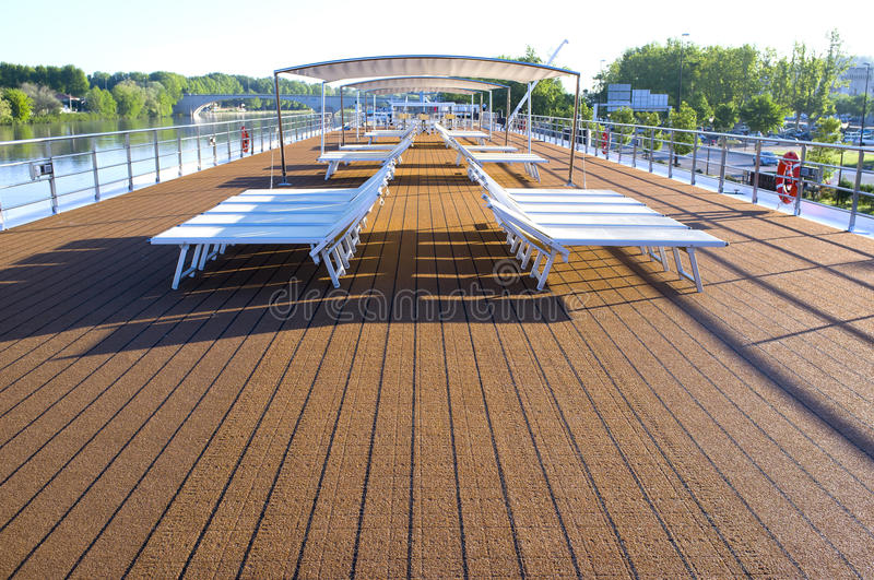 Sun Deck, Riverboat, Rhone River, France Stock Photos