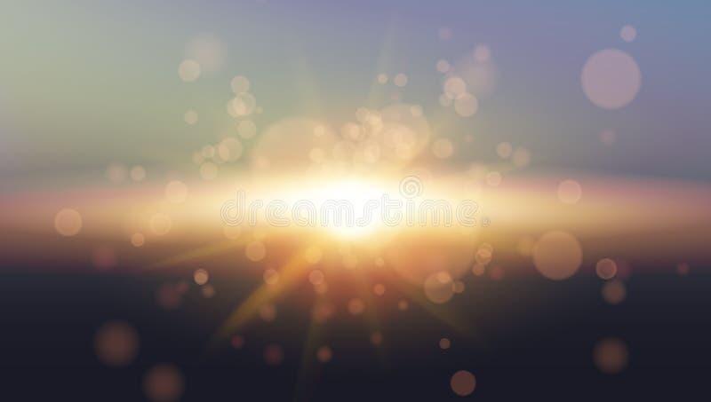 Sun del cielo Progettazione realistica di Bokeh Priorità bassa brillante astratta illustrazione di stock