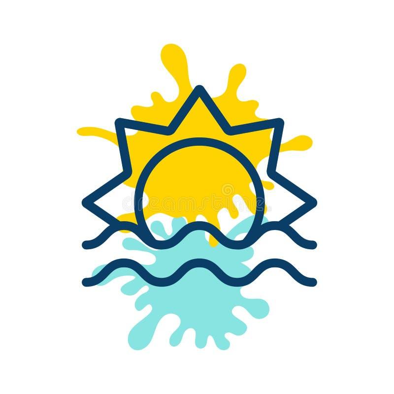 Sun in den Seelogo-Farbenstellen stock abbildung