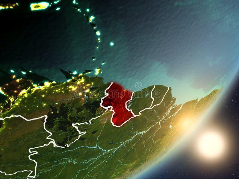 Sun, der über Guyana vom Raum steigt stock abbildung