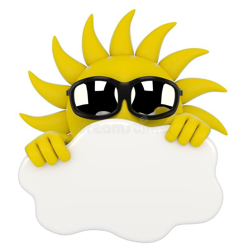 Sun, der hinter einer Wolke sich versteckt stock abbildung